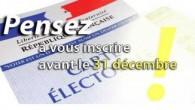 Pour voter en 2017 vous avez jusqu'au 31 décembre 2016 pour vous inscrire. >>>>>> Voir le dépliant