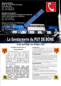 L'affiche et les coordonnées de la gendarmerie de Billom srcset=