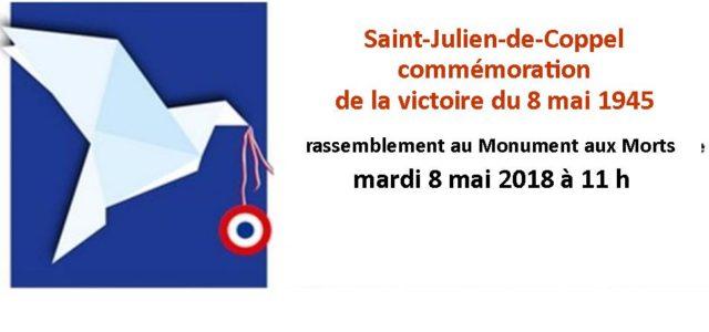La commémoration du 8 mai 1945, aura lieu au monument aux Morts : mardi 8 mai à 11 heures. Pour le 73ème anniversaire de l'Armistice, votre présence à cette cérémonie […]