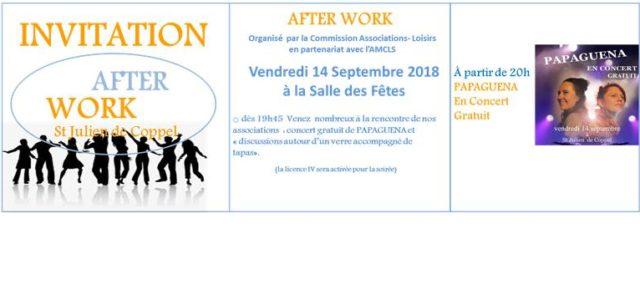 Vendredi 14 septembre, à la salle des fêtes  A partir de 19h45 : Afterwork ouvert à toute la population sera notamment un moyen de rencontre associations-administrés, lors d'une soirée […]
