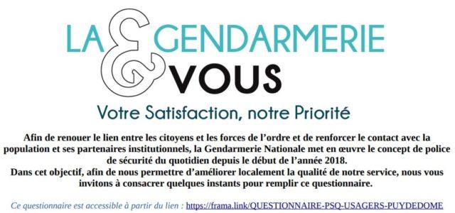 23 10 2018 – La gendarmerie Nationale : évalue la mise en œuvre de la police de sécurité du quotidien, à travers le questionnaire en ligne