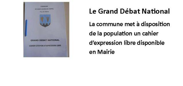 En Mairie depuis samedi 19 janvier, un cahier d'expression libre est à disposition de la population qui souhaite s'exprimer… À l'initiative du Président de la République, le Gouvernement engage un […]