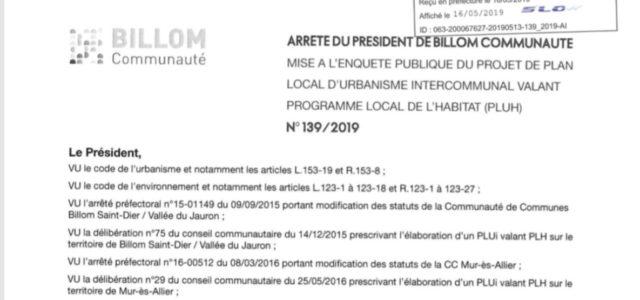 PLUH Billom Communauté Mise à l'enquête publique du mardi 11 juin au samedi 13 juillet 2019. Mercredi 19 juin, en mairie de Saint-Julien-de-Coppel, le commissaire enquêteur tiendra une permanence. Pendant […]