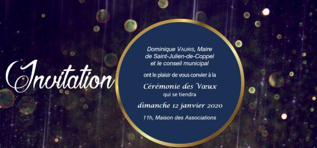 La municipalité de Saint-Julien-de-Coppel a le plaisir d'inviter les Coppelloises et Coppellois à la présentation des vœux 2020. Les nouveaux habitants, les représentants des associations pourront se présenter et présenter […]