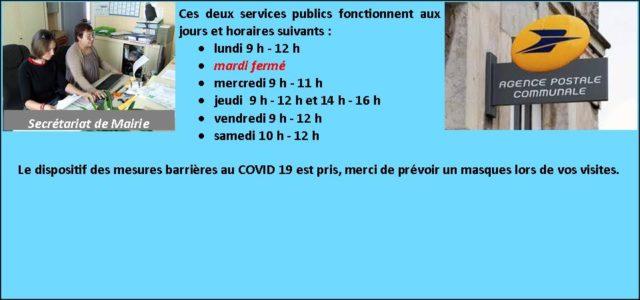 Ces deux services publics fonctionnent aux jours et horaires suivants : lundi9 h – 12 h mardi fermé mercredi9 h – 11 h jeudi9 h – 12 het 14 h […]