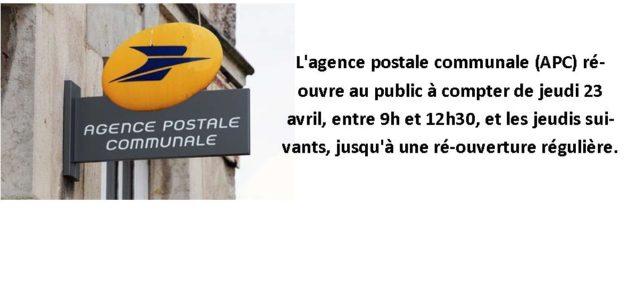 L'agence postale communale (APC) de Saint-Julien-de-Coppel ré-ouverte L'agence postale communale (APC) ré-ouvre au public à compter de jeudi 23 avril, entre 9h et 12h30, et les jeudis suivants, jusqu'à une […]
