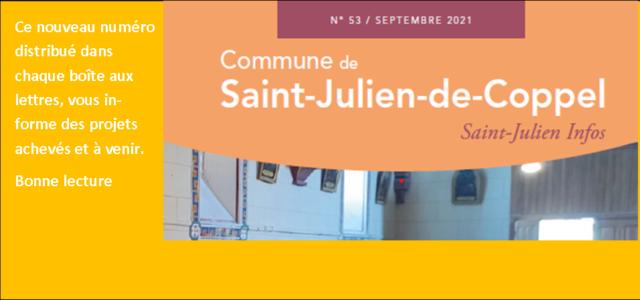 >>>Le dernier numéro du journal communal Saint-Julien Infos de septembre 2021 est disponible au format numérique