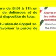 Samedi 08 décembre, en Mairie de 8h30 à 11h C'est ainsi que les élus(es) de Saint-Julien-de-Coppel, vous invitent à transcrire vos doléances et à rencontrer les élus présents : samedi […]