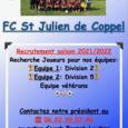 Tournoi de Saint-Julien, samedi 17 juillet à 10h  05 07 2021 =>Le club de foot recrute pour la saison 2021/2022